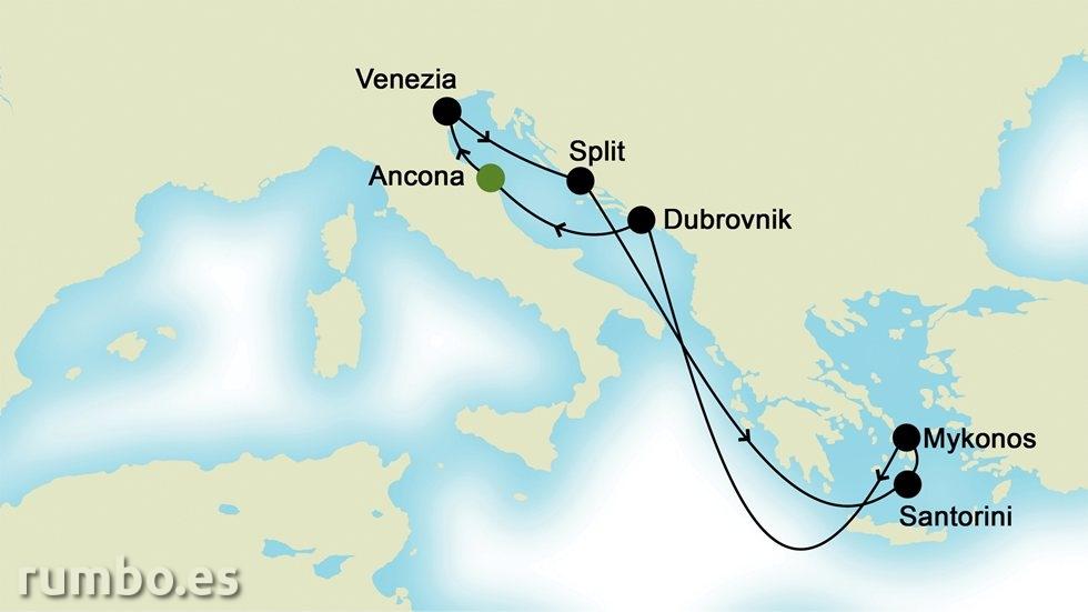 ISLAS GRIEGAS Y MEDITERRÁNEO ORIENTAL  desde Ancona