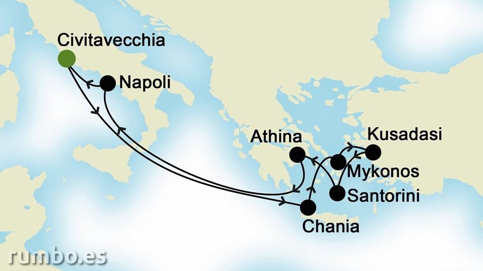 ISLAS GRIEGAS Y MEDITERRÁNEO ORIENTAL  desde Civitavecchia