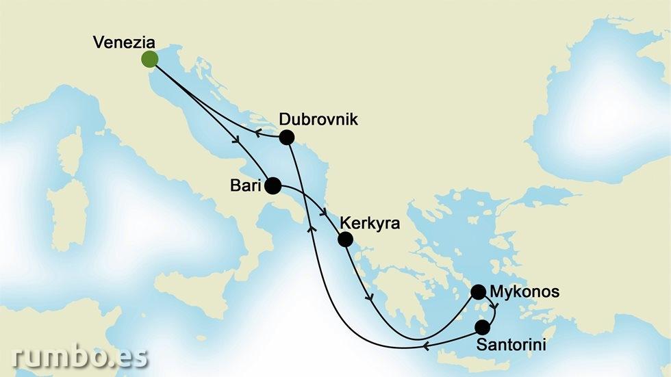 ISLAS GRIEGAS Y MEDITERRÁNEO ORIENTAL  desde Venecia