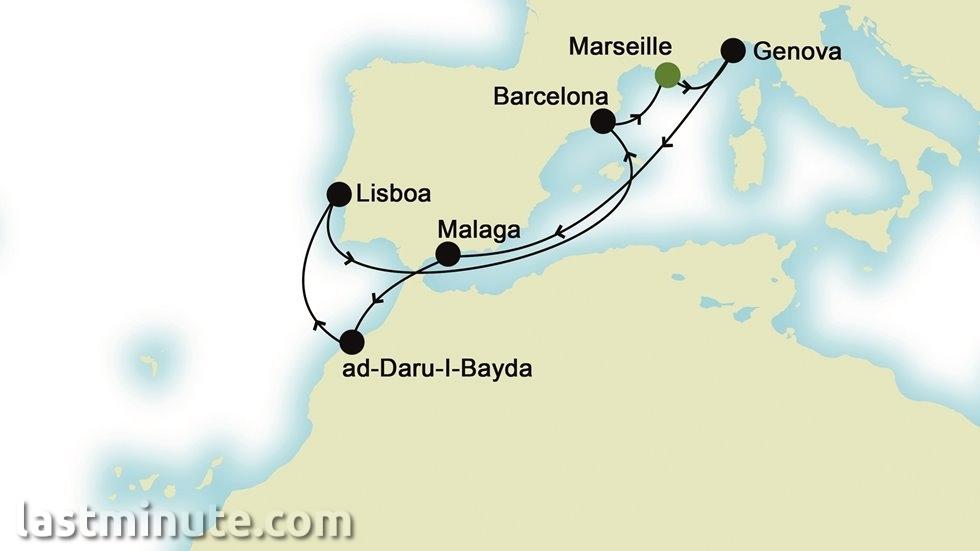 MEDITERRANEE D EST A OUEST au départ de Marseille